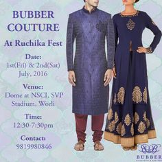 Bubber Couture is proud to exhibit its new festive collection at Ruchika Fest on Friday & Saturday 1st & 2nd of July, 2016 at Dome at NSCI, SVP Stadium, Worli from 12:30-7pm.  The collection to be showcased, is a mix of delicate vs royal ensembles of capes, tunics, kurtas, gowns and sherwani lehengas for women and bandhis, kurtas, sherwanis and a fun range of pocket square boxes for men.  Hope to seeing you there!  #bubbercouture #sherwani #lehenga #indianwear #womenswear #menswear