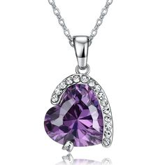 18K Platinum-Plated with Zirconia Heart Pendant Necklace (10 cttw), 18'…