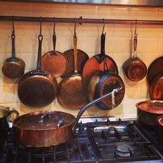 Beautiful copper pots and pans in Food at 52 Cookery School kitchen #London