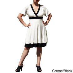 Evanese Women's Plus Size Two-tone Bubble-hem Dress | Overstock.com
