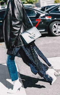 Moto jacket + step hem jeans + white booties