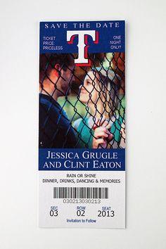 Texas Rangers  - Wedding Save the Date Ticket