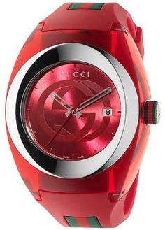Gucci Sync Unisex Swiss Red and Green Rubber Strap Watch - Luxury Brands - Jewelry & Watches - Macy's Gucci Watches For Men, Gucci Men, Luxury Watches, Cool Watches, Gucci Gucci, Female Watches, Casual Watches, Red Watches, Gucci Bags