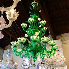 green glass chandelier murano italy