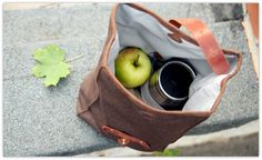 Waterproof Lunch Bag / Brown Lunch Tote / by OplichLeatherGoods