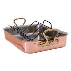 Mauviel M'Heritage Copper Roasting Pan with Rack, 15.7 Inch