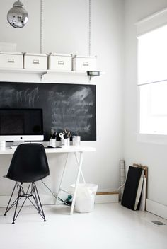 Simple Office in black and white. Minimalistic spaces inspirations. #contemporary #modernist #rassphome