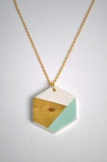 the minty green, white and natural wood and hexagon