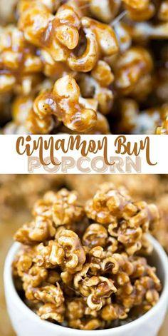 Bun Popcorn Cinnamon Bun Popcorn Recipe - chewy/crisp popcorn coated in a rich, buttery cinnamon sugar glaze!Cinnamon Bun Popcorn Recipe - chewy/crisp popcorn coated in a rich, buttery cinnamon sugar glaze! Gourmet Popcorn, Popcorn Snacks, Candy Popcorn, Flavored Popcorn, Popcorn Balls, Cheese Popcorn, Popcorn Mix, Candy Recipes, Snack Recipes