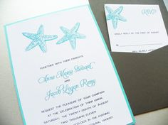 Wedding Invitation   By the Sea Pocket by LittleSparkCreations, $3.95