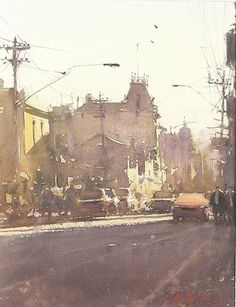 """Joseph Zbukvic  """"The more you let watercolor paint itself the better off you are.""""  He does a test. He puts in a mark. Is it too dark? Is it too light? Sometimes it feels to light but it isn't. Adjust it after the other values go in. He is all about value with lots of neutrals. Wow!"""