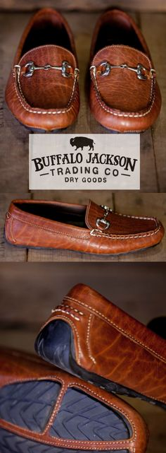The Laramie: 100% North American Bison leather horsebit driving loafer. The casual mens shoe for the rugged gentleman. Also available in black. (Shown here in walnut.)
