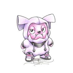 """When I grow up"" Snubbull in a Granbull onesie"