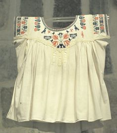 Zapotec Blouse Oaxaca Mexico.  I like the shaped yoke, gussets and bands of embroidery on the sleeves.