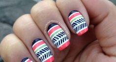Diseño de uñas tribales. Ideal primavera.