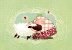 Manka and the sheep - print My Works, Sheep, Snoopy, Fictional Characters, Illustrations, Art, Art Background, Kunst, Illustration