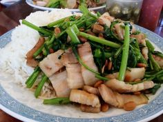 Cambodian food recipe dishes, pork belly with fermented beans and morning glory, Cha sach jrouk bey chon ja mou tha koun
