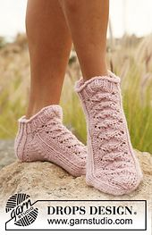 """Ravelry: 127-37 Short sock with lace pattern in """"Nepal"""" pattern by DROPS design"""