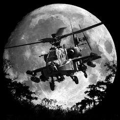Apache Moon by P. Keur ~Via Adriel Torres Helicopter Plane, Attack Helicopter, Military Helicopter, Military Aircraft, Military Photos, Military Art, Ah 64 Apache, Focke Wulf, Military Equipment
