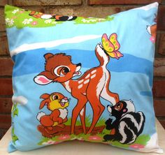 Adorable Bambi cushion selection made from rare Disney Bambi fabric, by Alien Couture. 17 x 17 approx    Cushions have envelope backs so that they