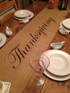 """Burlap Table Runner 12"""", 14"""" or 15"""" wide with Thanksgiving in the center - Thanksgiving runner Holiday decorating Holiday runner by CreativePlaces on Etsy"""