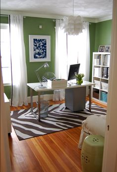 home office idea - like the wall color, not so much the animal print rug...