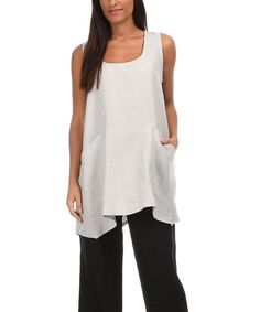 Another great find on #zulily! Light Gray Linen Scoop Neck Tunic by Eva Tralala #zulilyfinds