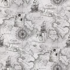 Nautical Map Compass Sailing Grey - Arthouse VIP Navigator Wallpaper 622004 | eBay