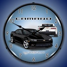 2014 Black Camaro SS The clock measures 14 inches across. The outer lens is made from high quality optical lexan held in place with 3 removable rivets. It's scratch resistant and won't yellow over time. The advertisement face is cut out by a CNC router and the image is placed with a UV dried computer controlled printing process that …