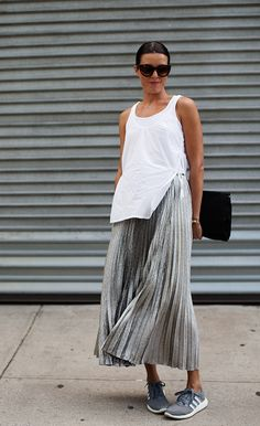 metallic skirt + kicks.