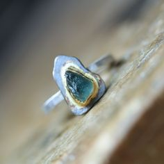 Rough Blue Green Sapphire Engagement Ring Gold by NangijalaJewelry, $245.00