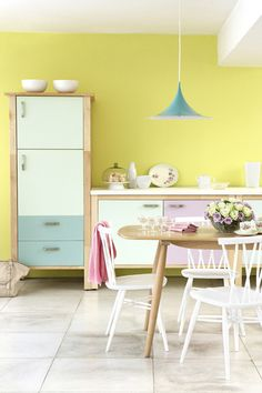 Holy crap--someone decided to paint Ikea Varde with Little Greene paint (my favorite! Little Greene Paint Company, Home Design, Interior Design Kitchen, Interior Modern, Design Ideas, Pastel Interior, Yellow Interior, Salon Design, Kitchen Designs