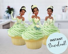 Disney Princess Decorations, Disney Princess Cupcakes, Princess Cupcake Toppers, Disney Princess Tiana, Frog Princess, Disney Princess Birthday, Princess Party, Frog Cupcakes, Kitty Cupcakes