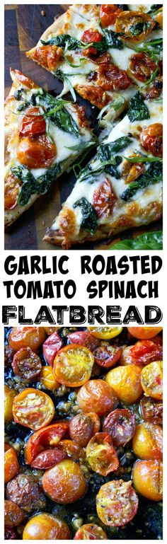 This Garlic Roasted Tomato Spinach Flatbread recipe is smothered in cheese with sweet roasted cherry tomatoes and spinach Vegetarian Recipes, Cooking Recipes, Healthy Recipes, Pizza Recipes, Meal Recipes, Vegan Meals, Cooking Ideas, Easy Dinner Recipes, Appetizer Recipes
