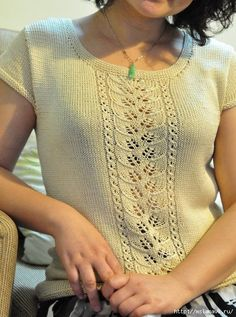 Knitted blouse with Leaf pattern Chandails pour Femmes Knitted blouse with Leaf pattern Knitting Machine Patterns, Knit Patterns, Summer Knitting, Lace Knitting, Knitting Needles, Knit Vest Pattern, Pulls, Knitwear, Knit Crochet