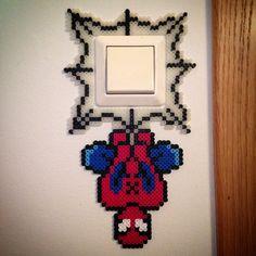 Spiderman light switch frame hama beads by julielodrup (photo by Ingrid Wergeland)