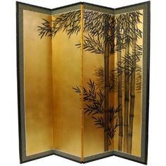 5.5 ft. Tall Gold Leaf Bamboo Room Divider
