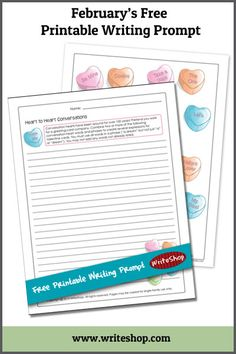 Free Printable Writing Prompt: Create a greeting card expression using this cute Conversation Hearts printable!