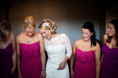 Beautiful bridesmaids in pink and purple. Photography by www.lillianandleonard.com