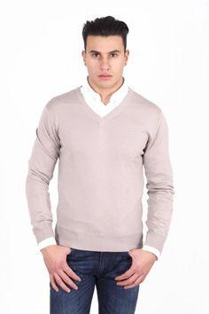 Versace 1969 Italia Mens V Neck Sweater 9801 Scollo V Sabbia Versace, Men Sweater, Turtle Neck, Beige, V Neck, Pullover, Sweaters, Mens Tops, Shirts