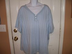 WHITE STAG Baby Blue  Short Sleeve Shirt Size 5X (30W/32W) Women's NEW #WhiteStag #KnitTop