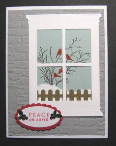 card christmas window SU Serene Silhouettes, Grand Madison Window, MFT Fence Die, SU Oval Punches, Sizzix Brick E F Christmas Cards To Make, Xmas Cards, Handmade Christmas, Holiday Cards, Serene Silhouettes, Memory Box Cards, Winter Karten, Window Cards, Hearth And Home