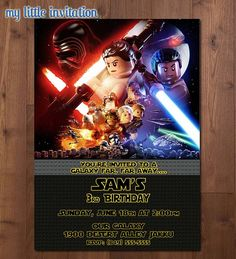 Lego Star Wars BB-8 Rey Kylo Ren Finn Han by MyLittleInvitation