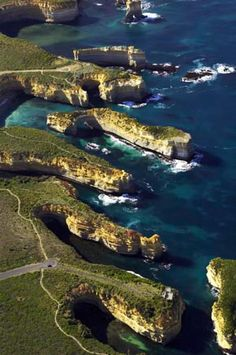 Loch Ard Gorge and The Island Archway, Port Campbell National Park, Great Ocean Road, Victoria, Australia - aerial AVcG057