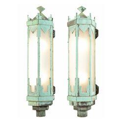 Pair of Monumental Art Deco Copper Sconces c1928  R9068