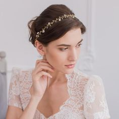 Gold wedding hair vine with pearls and crystals - 'Aria'