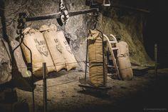 Old salt bags used in century in the salt mines of Bex.