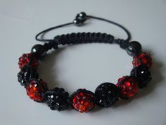 Red and Black Crystal Clay Disco Ball by traceysjewellery on Etsy, £9.99