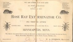 Life was rosy when Hennepin County could count on Rose Rat Exterminator Co. to handle whatever pests came our way. Advertising card from the Hennepin History Museum collection.