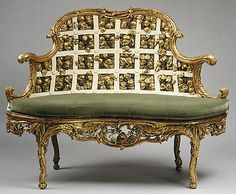 """1763-1764 German (Würzburg) Settee at the Metropolitan Museum of Art, New York - From the curators' comments: """"In Germany the Rococo style was based on French prototypes and enriched by native Baroque traditions. This extraordinary piece is part of a set of four side chairs, two armchairs, and two settees made for the Franckenstein Pavilion in the gardens of Seehof Castle, near Bamberg."""""""